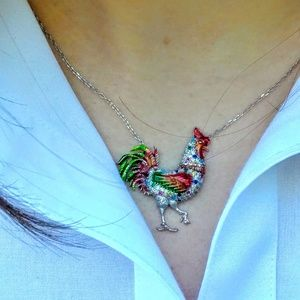 Colorful Sterling Rooster Pendent